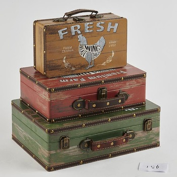 New Design Wooden Old Suitcase Home Decoration Accessories Vintage
