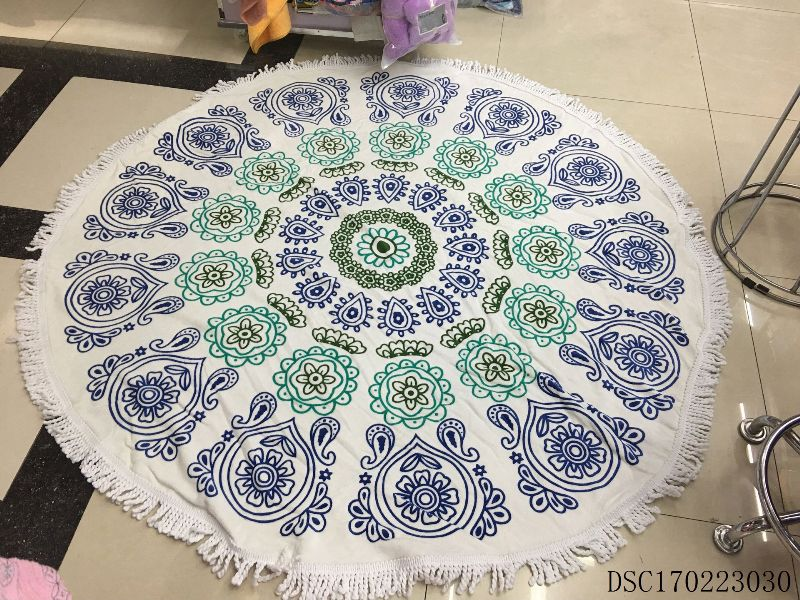 OEM 100% organic turkish cotton mandala luxury round beach towel with tassel