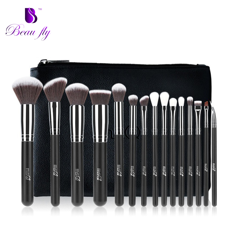 Pro 15 stücke Make-Up Pinsel Set Powder Foundation Lidschatten Kosmetik Weiche Kunsthaar Make-Up Pinsel Mit PU Ledertasche