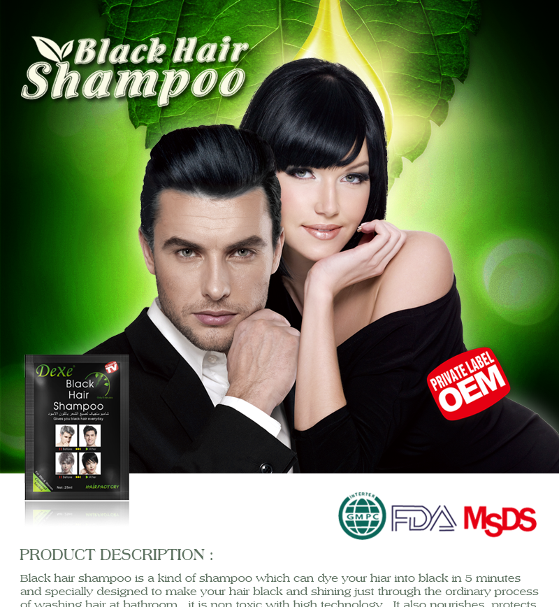 Herbal Extract Hair Color Shampoo of Hair Dye Colour Shampoo Permanent Hair Dye Color Natural Black