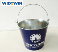 Galvanized metal ice bucket with stand metal ice bucket