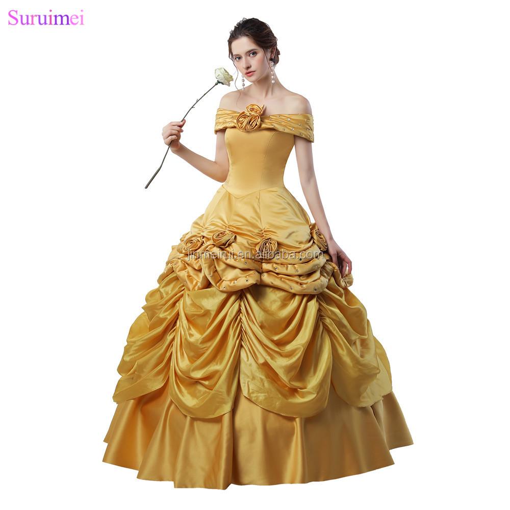 Latest Design Ball Gown Prom Dresses Handmade Flowers Gold Taffeta