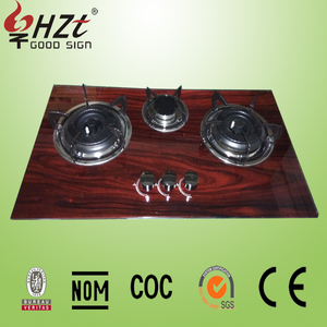 2016 Pakistan hot sale 3 burner wooden glass gas stove