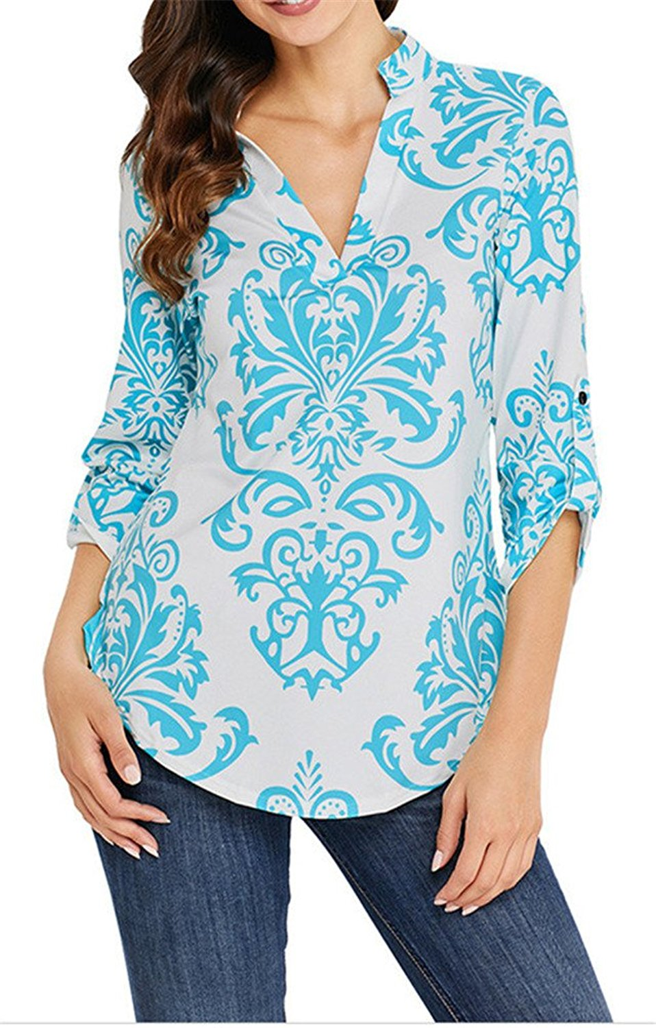 582a8be77a544 Get Quotations · Ourfashion Womens Floral Printed Tunic Shirts 3 4 Roll  Sleeve Notch Neck Tunic Top