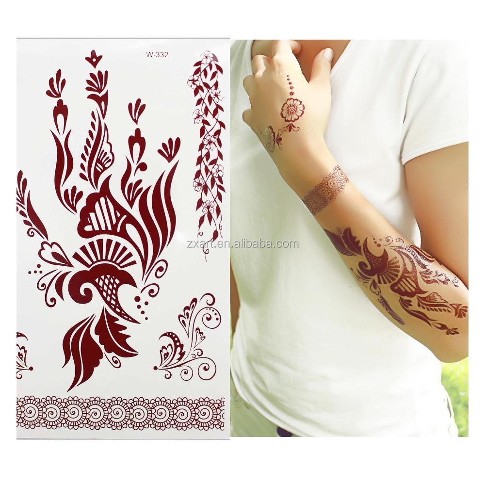 India Henna Style Hand Leg Neck Arm Burnt Henna Temporary Tattoo ...
