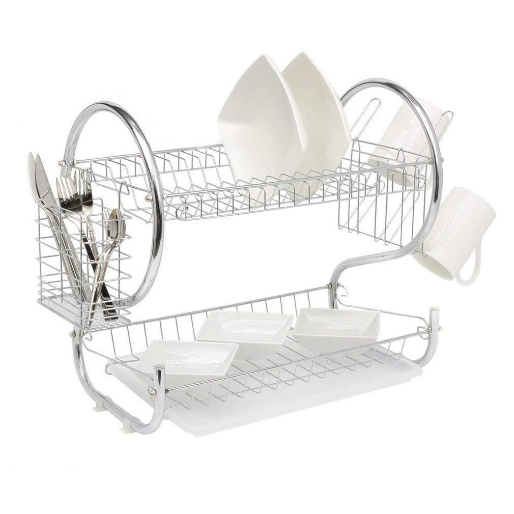 Coldcedar 2 tier modern steel rust proof dish rack and dryer drainboard set dish drying