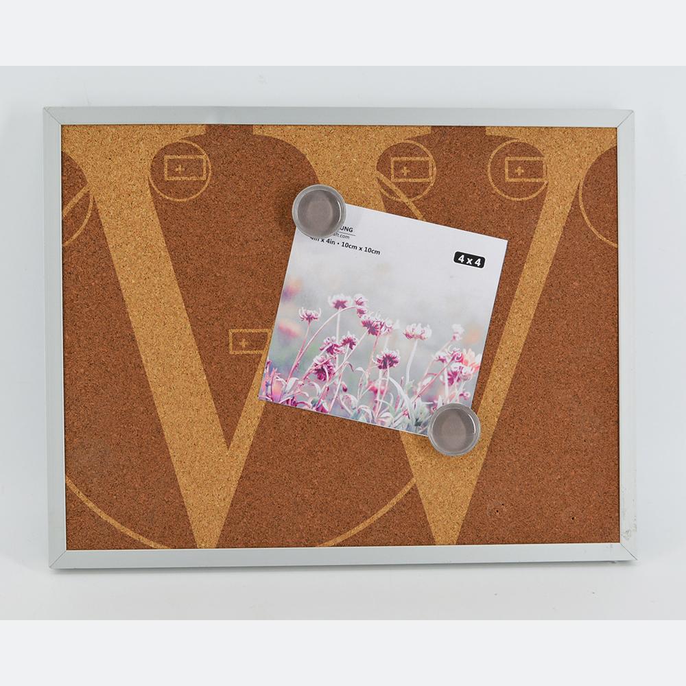 Mdf frame black metal sheet cork combo decorative magnetic board