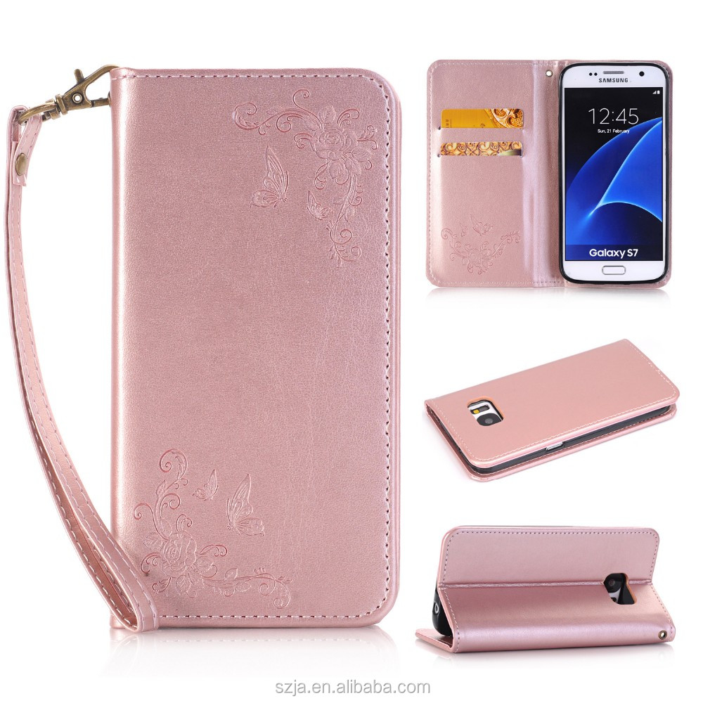 super popular aaa9f bd28a Embossed Floral Pattern Horizontal Flip Leather Case For Samsung Galaxy J7  Prime,Back Cover For Samsung J7 Prime With Lanyard - Buy Embossed Floral ...