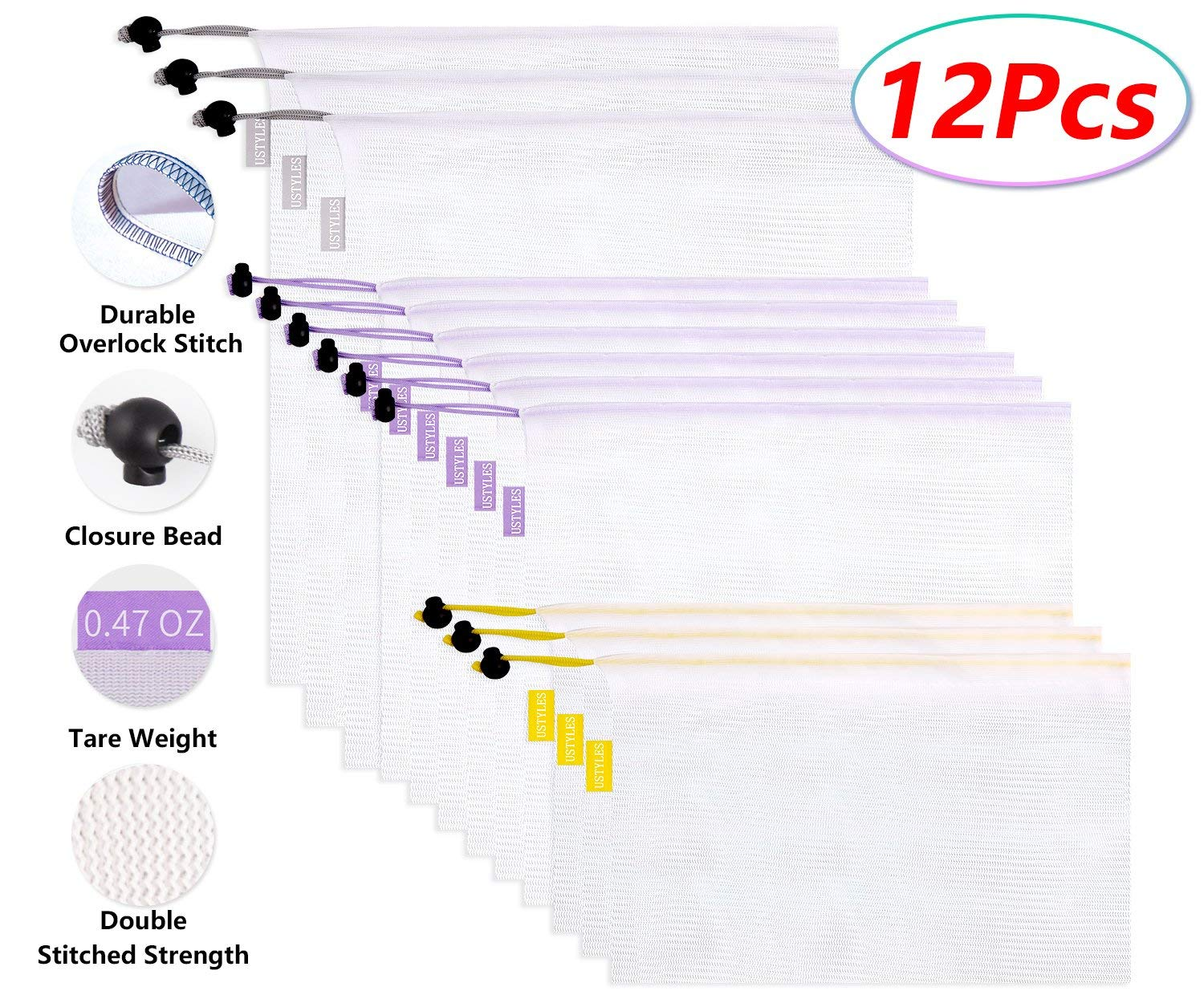 USTYLES 12Pcs Reusable Mesh Produce Bags, Superior Double-Stitched Strength Premium Mesh Bags with Color Tag Weight Lightweight See-Through ECO-friendly Reusable Grocery bag Storing Fruits Veggies Toy