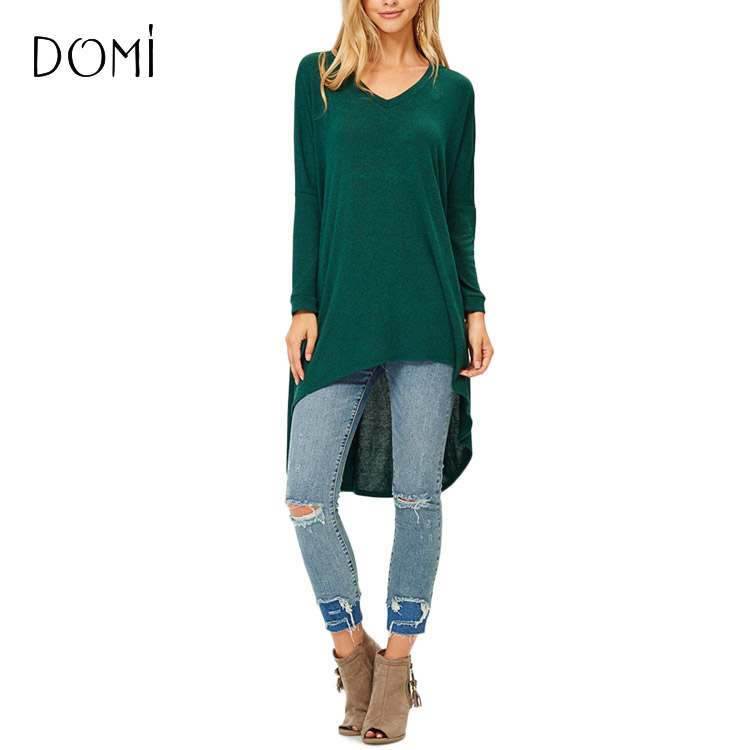 Casual Wear For Women Green Tops Long Sleeve Knit Tunic Tops