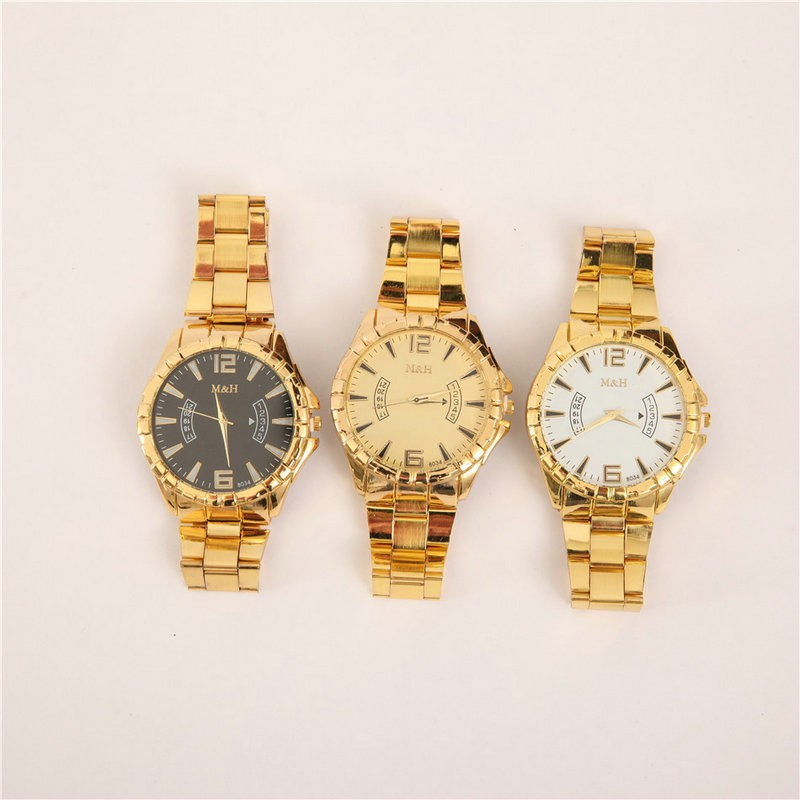 Men and women alloy quartz watche 3-color fake calendar gold strap watch