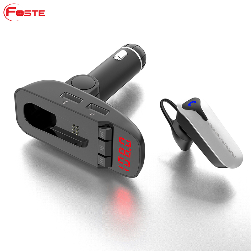 ER9 Wireless Bluetooth 4.2 Handsfree Auto Car FM Transmitter Mp3 Player Bluetooth Earphone