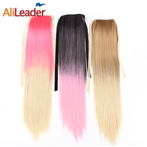 AliLeader Wholesale 20 Inch Silky Straight Synthetic Hair Ponytail Ombre Color Clip In Hair Ponytail Hairpiece In Hair Extension