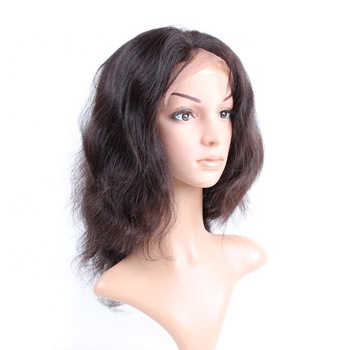 Queen Beauty Products Company Natural Hairline Frontal Human Hair Full Lace Wig Body Wave Hair