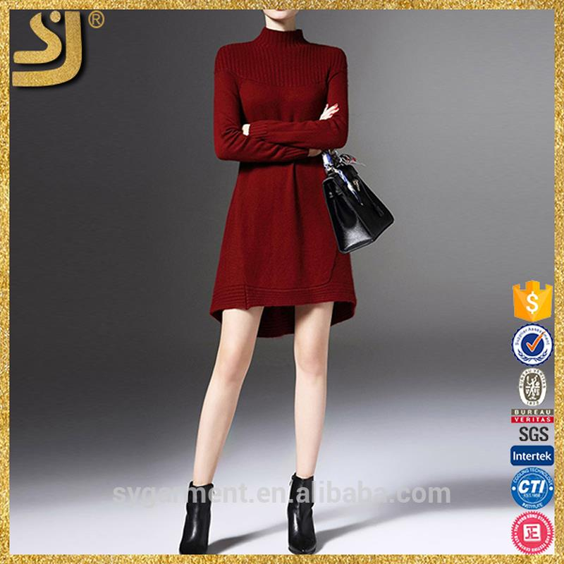 SHANGYI fashion high neck sweater dresses for women