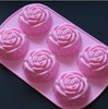 Homemade Soap, Cake, Pudding, Chocolate 6-Cavity silicone rose cake mold