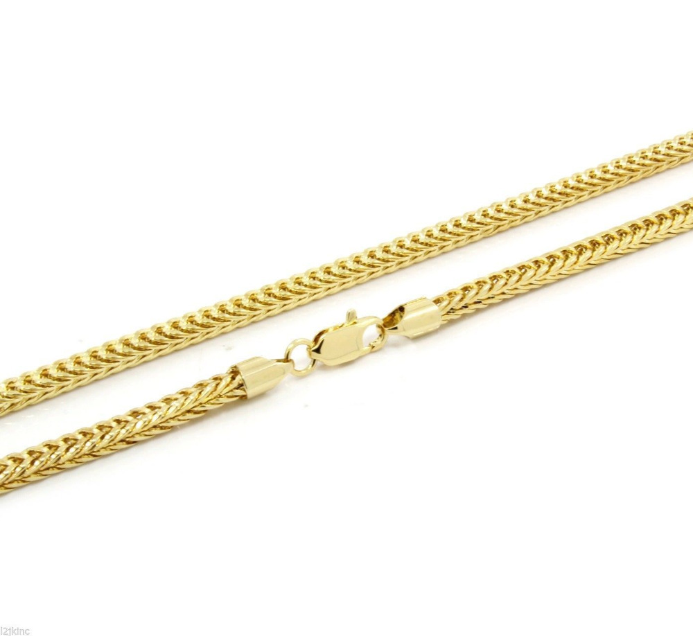 "Mens 14K Gold Plated Franco 4mm 36"" Inch Necklace Hip-Hop Chain"