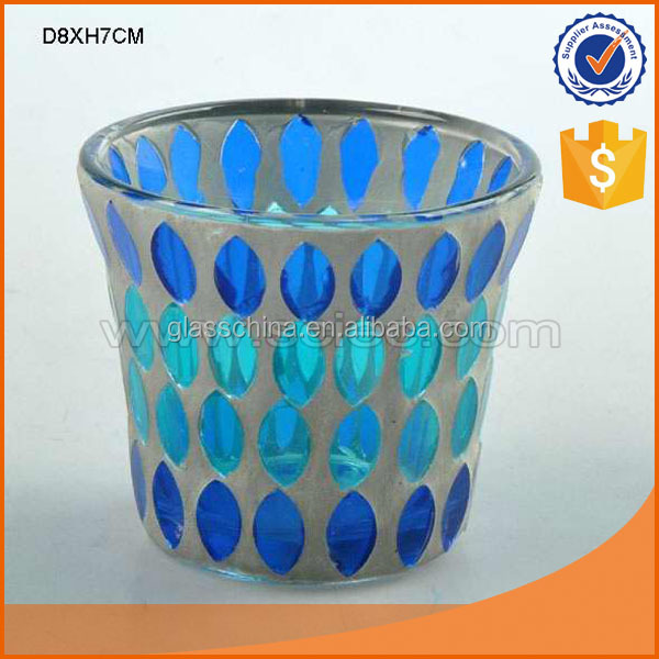 7cm high beautiful mosaic pattern design colourful glass candle cup