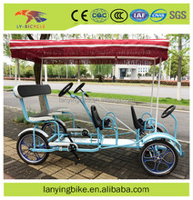 2017 new model cheap surrey tandem bicycle/surrey bike for family/park sightseeing bicycle for sale with 4 seater