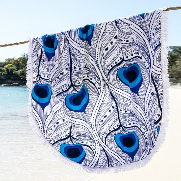 Round Tapestry Beach Throw Cover-Up Tablecloth Beach Towel Wrap Yoga Mat with Fringe