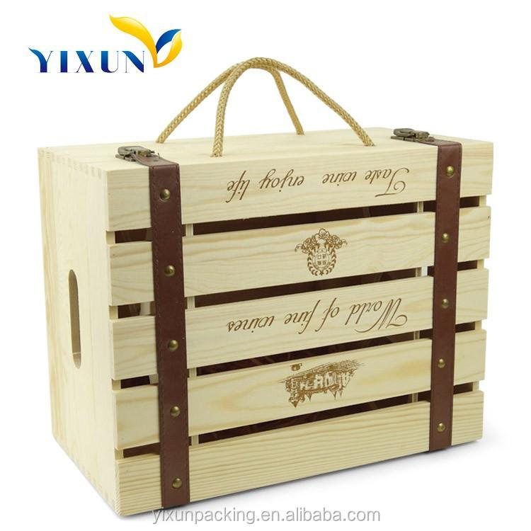 mdf de madera de pino vino caja de regalo de lujo caja de regalo copa