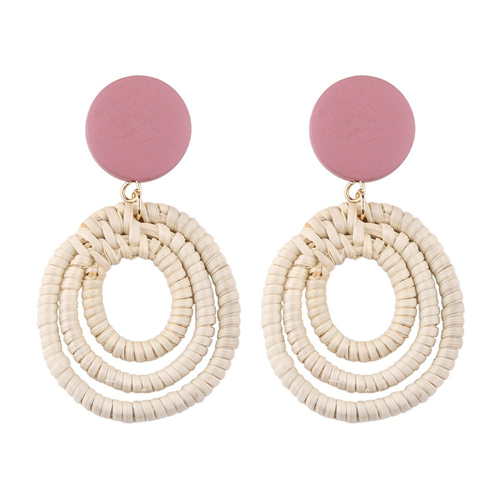 National Handmade Bamboo Weaving Wear Pearl Earring Hoop Earrings Party Jewelry Wholesale