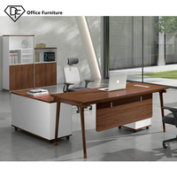 Foshan Executive CEO Desk Walunt L Shape Manager Table Fashion Boss Room Office Furniture