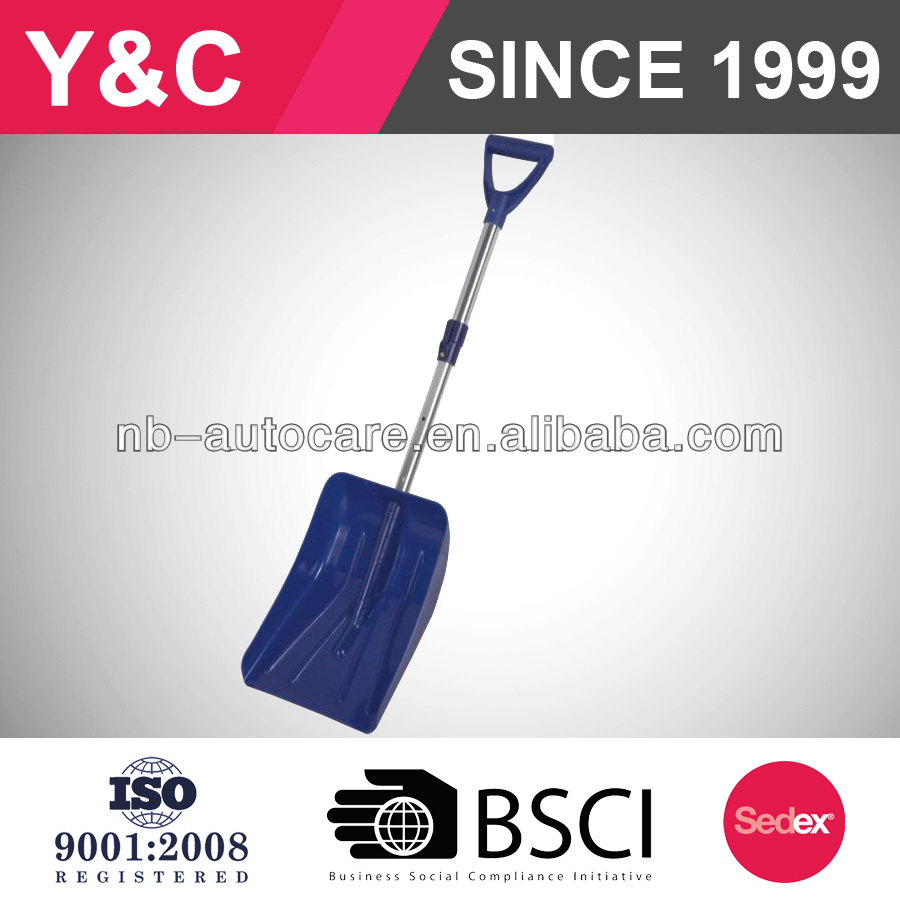 plastic telescopic auto lock snow shovel with aluminum blade with wheels with adjustable handle