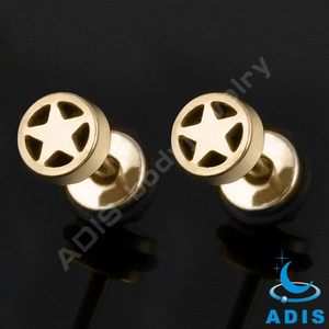 anodized gold stainless steel star fake tunnel plug ear lobe piercing