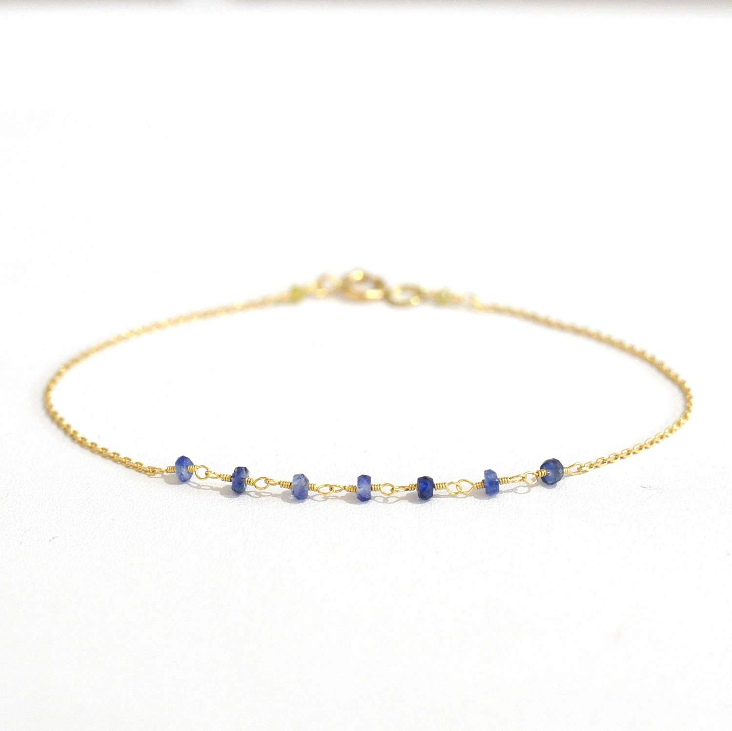 18K Gold. Blue Sapphire & Yellow Diamond Bracelet in 18KYG, Sapphire Delicate Gold Bracelet, April Birthstone Jewelry, Gift for Her,