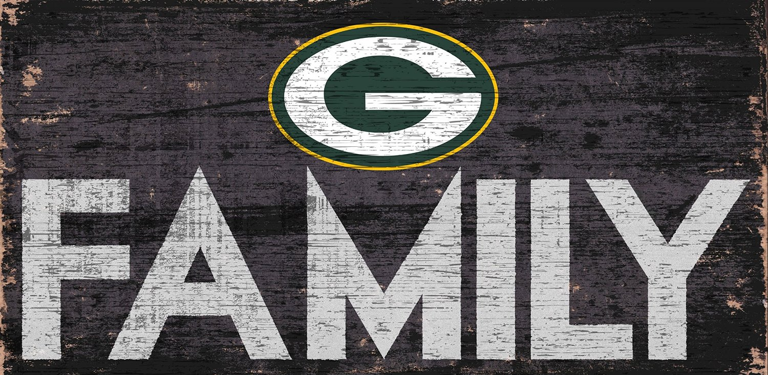 "Green Bay Packers Family 12"" x 6"" Distressed Vintage Wood Sign"