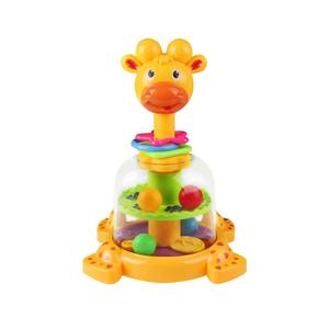 Baby Funny Rotary Baby Rattle Swirl Ball Giraffe Spinner with Colorful Balls and Loops Activity Center Developmental Toddler Toy