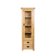 Classic Solid Wood Furniture Natural Wood Oak 2 Drawer Tall Narrow Bookcase