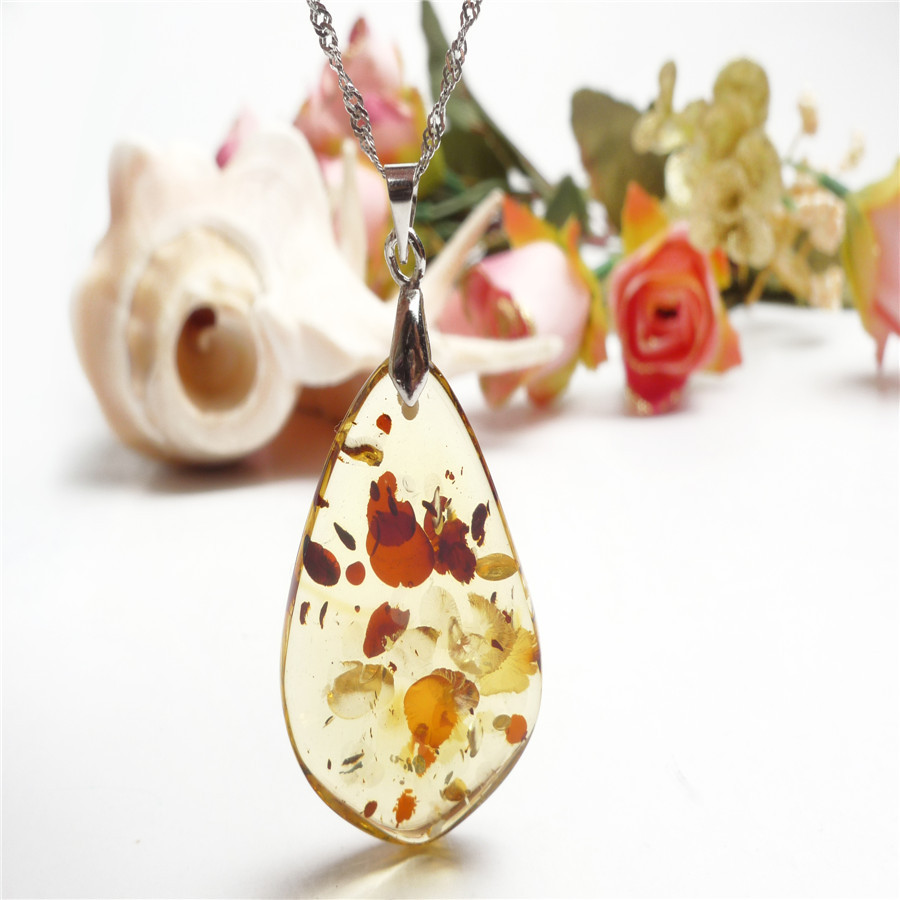 184d65c4d Get Quotations · 39*25*6mm Summer Style Women Fashion Genuine Natural  Yellow Amber Stone Waterdrop Crystal
