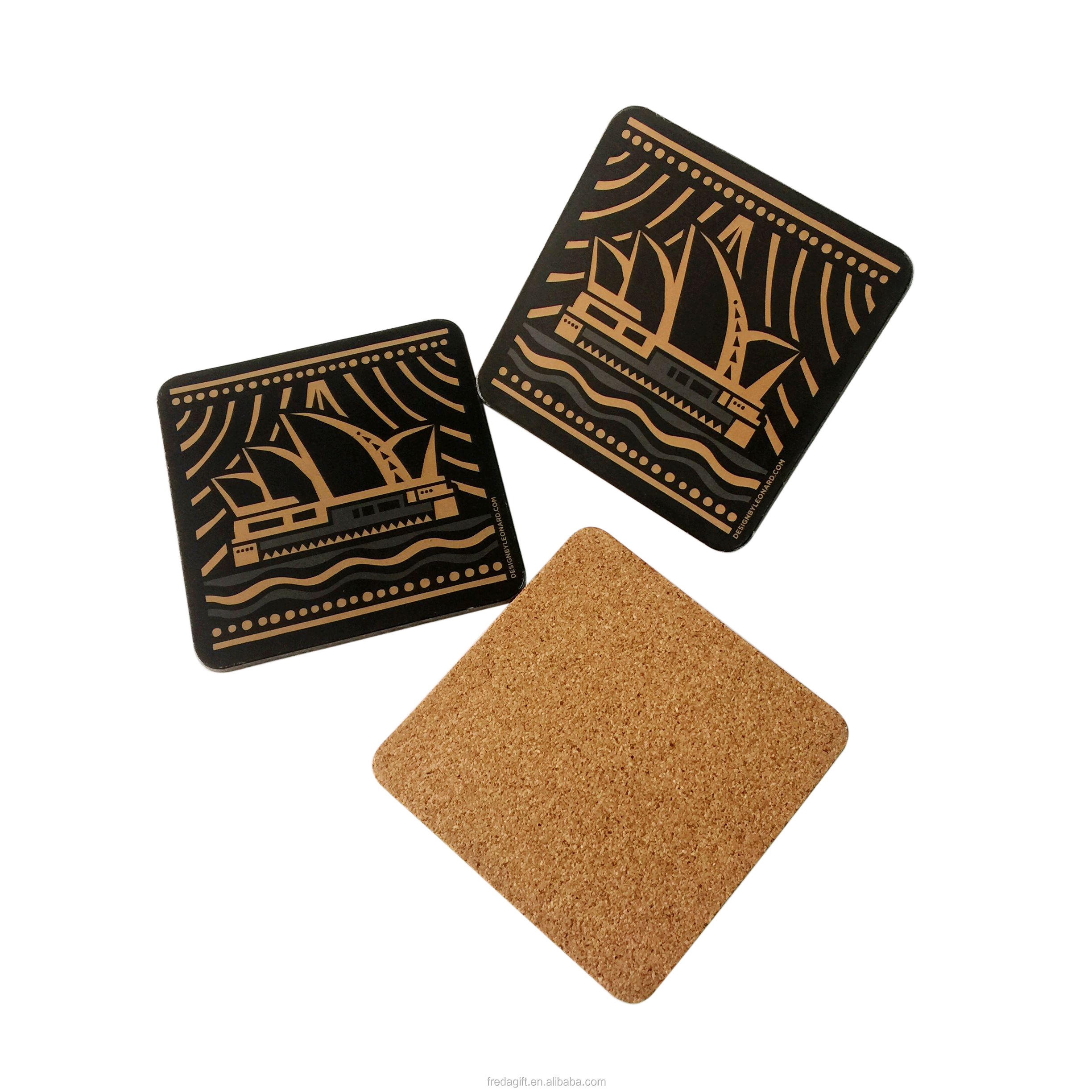 Custom home drink cup coasters gold Sydney Opera House printing MDF cork coasters