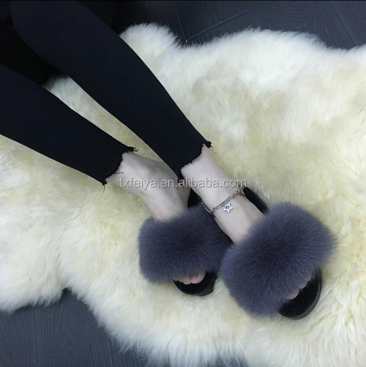 Winter Real Fur Women Home Slipper Fashion Girls High Heel Green ...