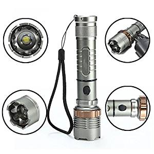 Gray aluminum alloy 35W 2000LM Waterproof Flashlight XM-L T6 5 Modes Zoomable Focus 18650 LED Flashlight Strong light Bike light Outdoors