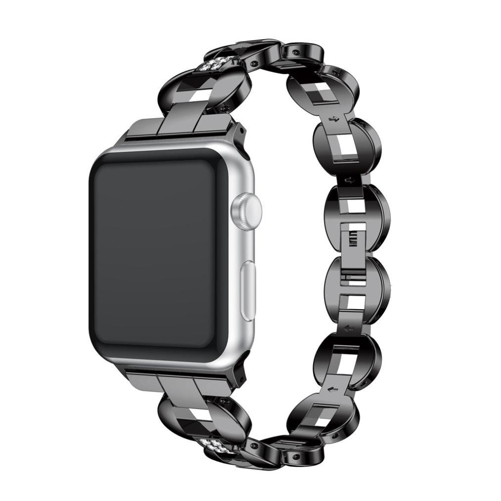 For Apple Watch Series 3 42MM/38MM,Luxury Alloy Crystal Link Bracelet Watch Band Strap by Sunfei (42MM, A)