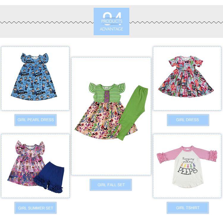 Groothandel kleren meisje zomer een stuk afdrukken ontwerp flutter mouw jurk