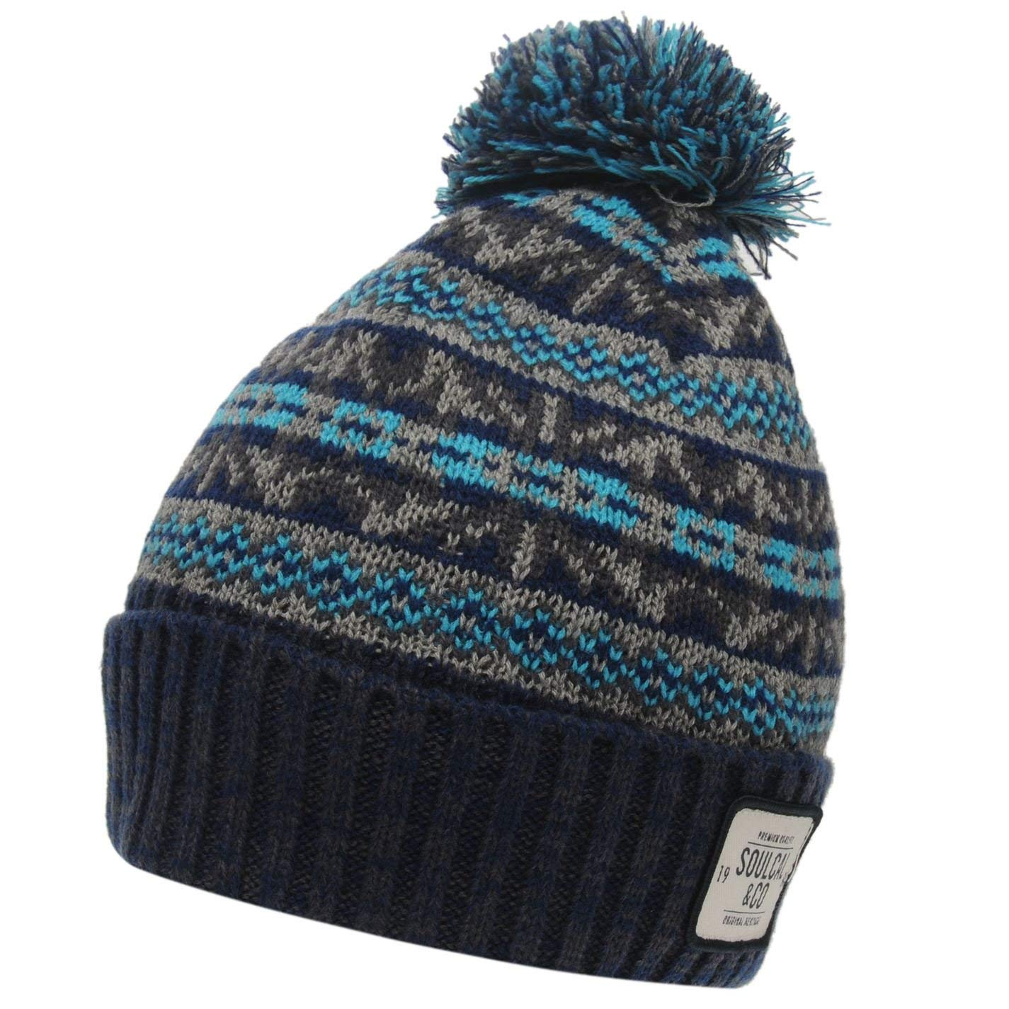 72ac1f78de4 Get Quotations · SoulCal Mens Dogoda Bobble Hat Pattern Winter