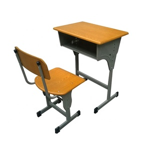 Factory cheap price single school student desk middle school desk and chair sets attached school desks and chair