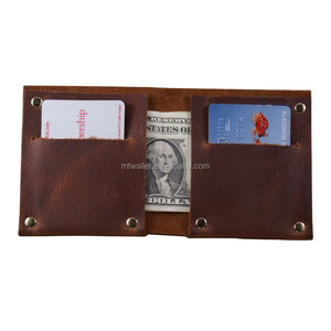 Full riveted minimalist Mexican leather wallets card holder in oil tanned cowhide leather full grain real leather wallet
