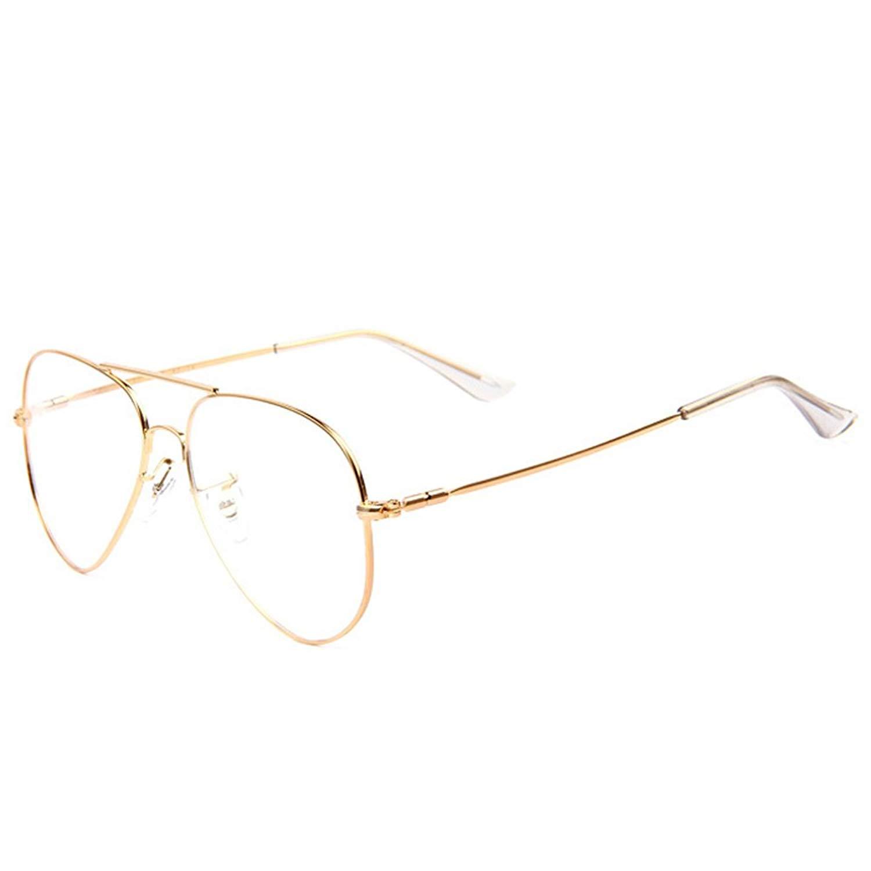 0006669e86 Get Quotations · Pro Acme Classic Vintage Memory Metal Aviator Clear Lens  Glasses Non-Prescription