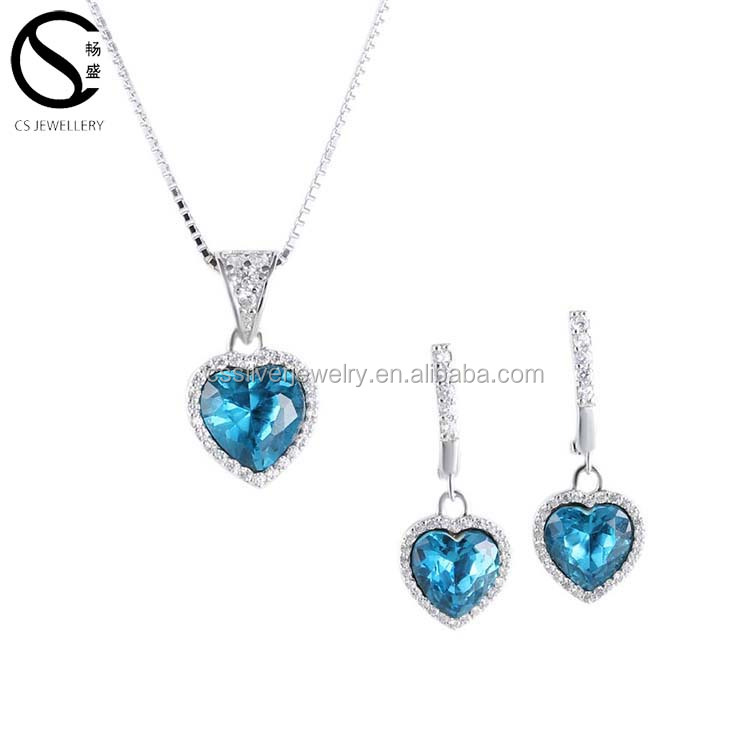 925 sterling silver lady crystals earring necklace fashion jewelry set for women