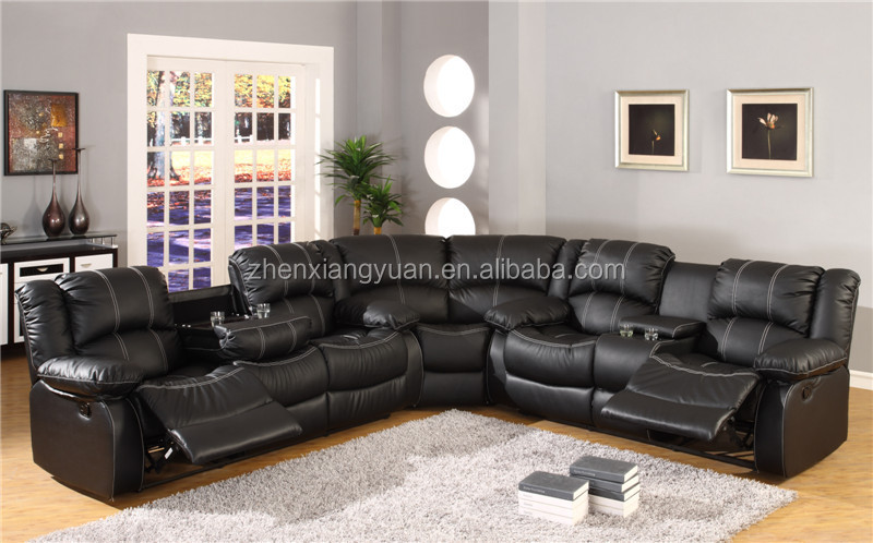 Sf3591 Black Leather Sectional Sofa