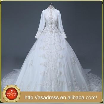Wda1001 Top Design Hand-beaded Crystal Muslim Wedding Dress Long ...