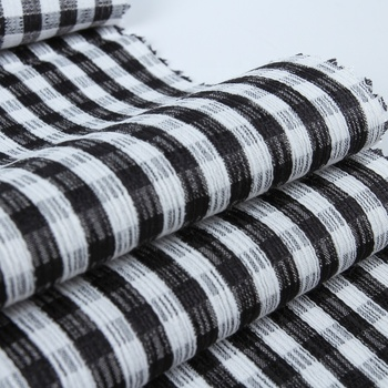 Stock lot of black and white T/R woven crepe yarn dyed fabric stripe shirt men
