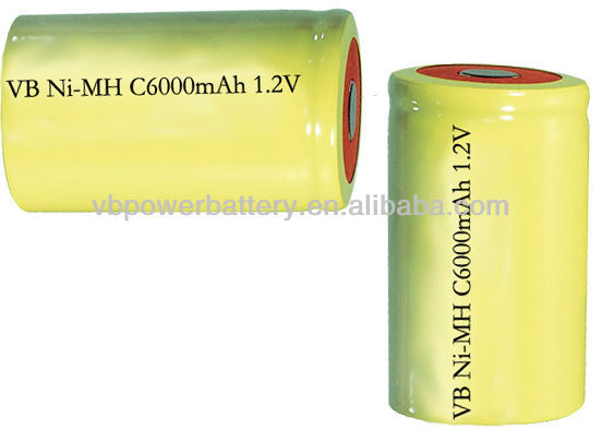high drain NiMH rechargeable battery C Size 6000 mAh1.2V Flat Top