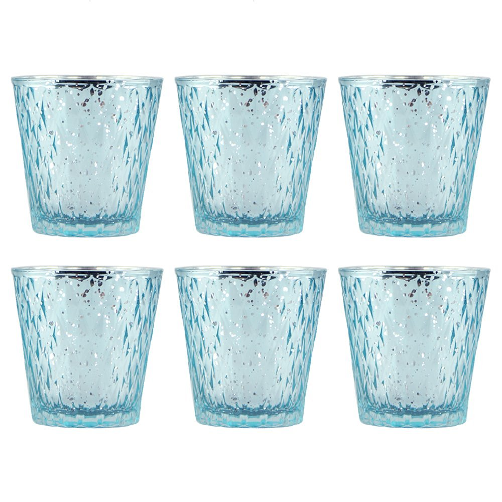 Buy Set Of Six Blue Mercury Glass Votives Candle Holders 3 In