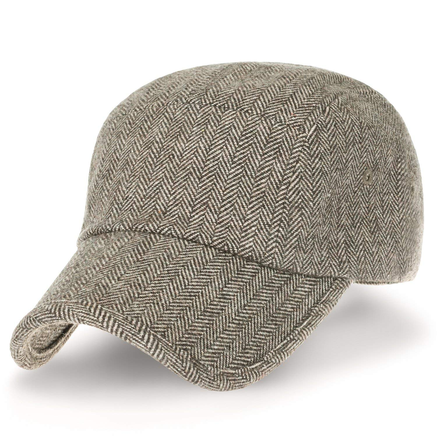 c31b2249f8cb83 Get Quotations · ililily Herringbone Pattern Military Army Hat Wool Blend  Adjustable Cadet Cap